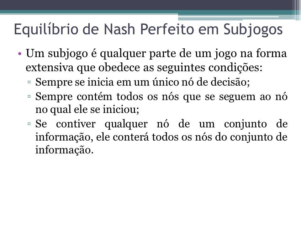 Equilíbrio de Nash Perfeito em Subjogos
