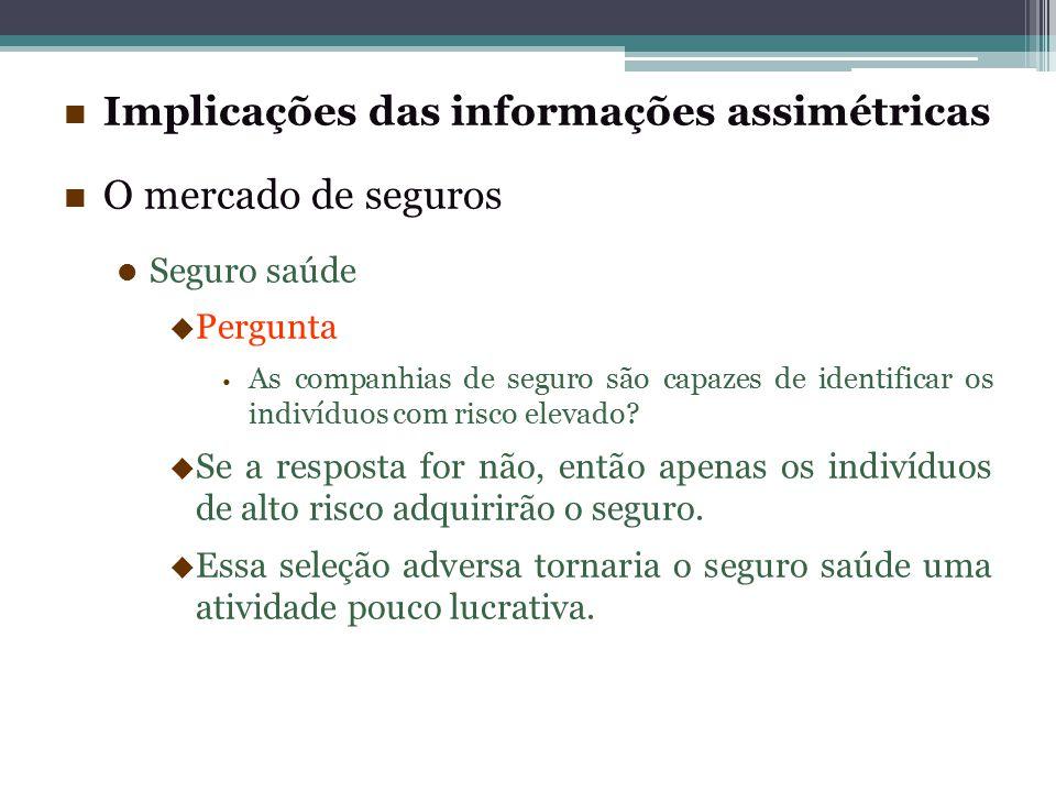 Implicações das informações assimétricas O mercado de seguros