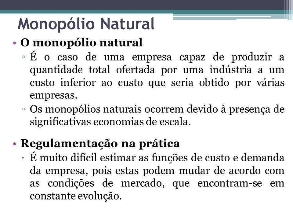 Monopólio Natural O monopólio natural Regulamentação na prática