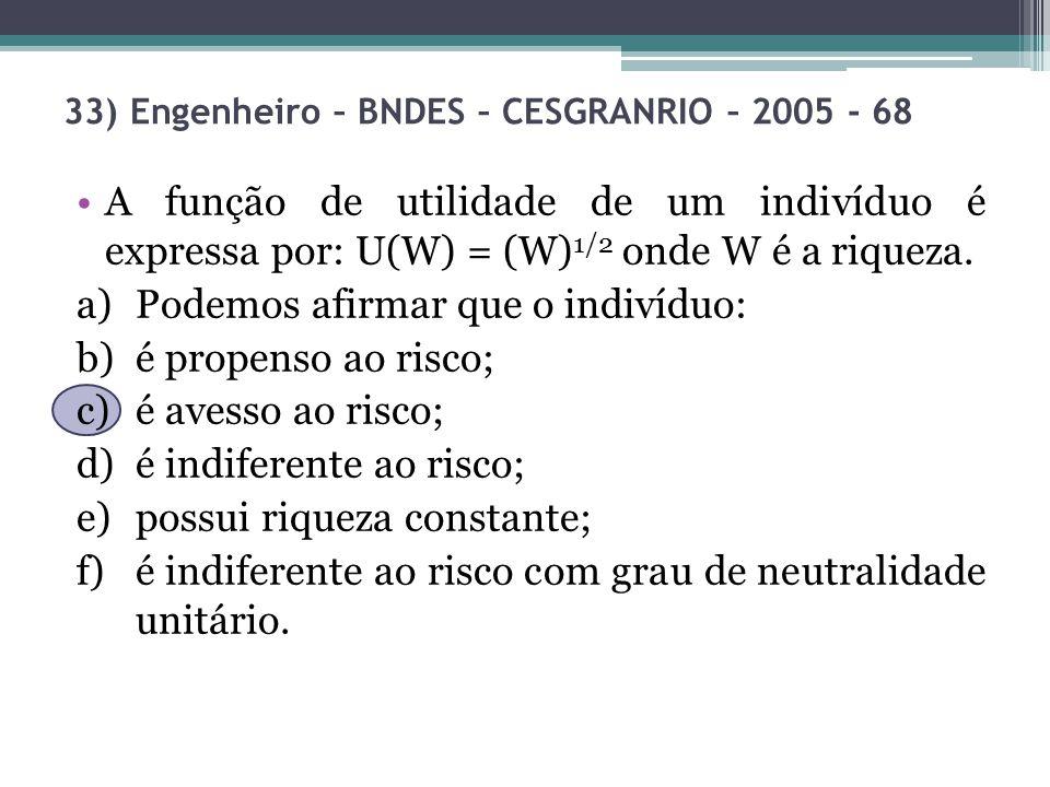 33) Engenheiro – BNDES – CESGRANRIO – 2005 - 68