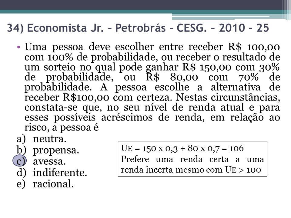 34) Economista Jr. – Petrobrás – CESG. – 2010 - 25