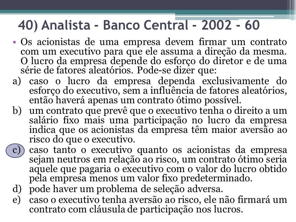 40) Analista - Banco Central - 2002 - 60