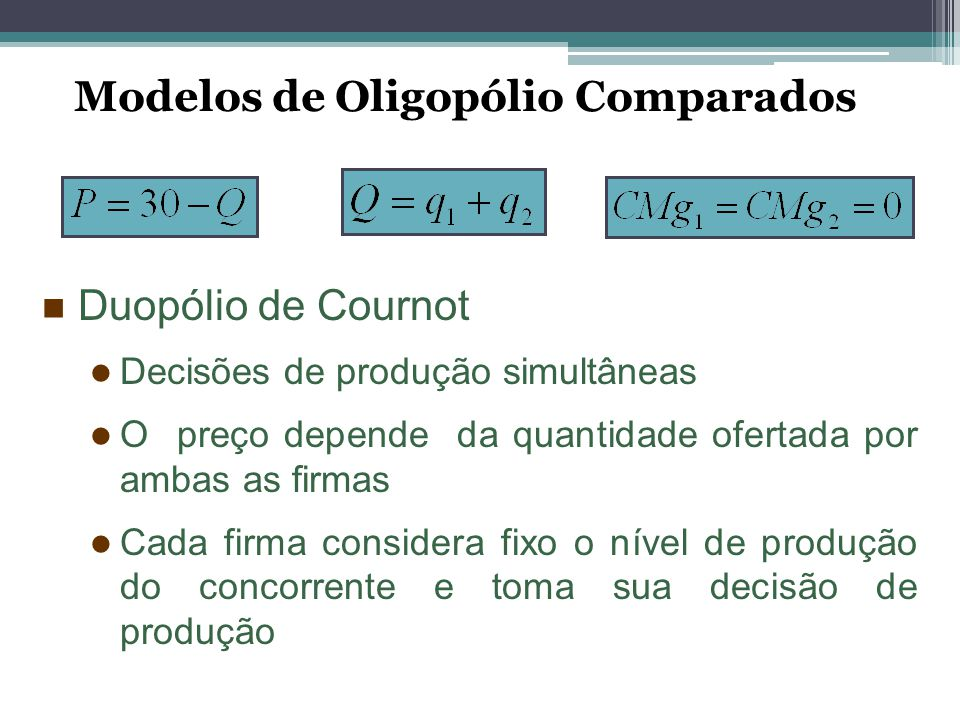 Modelos de Oligopólio Comparados