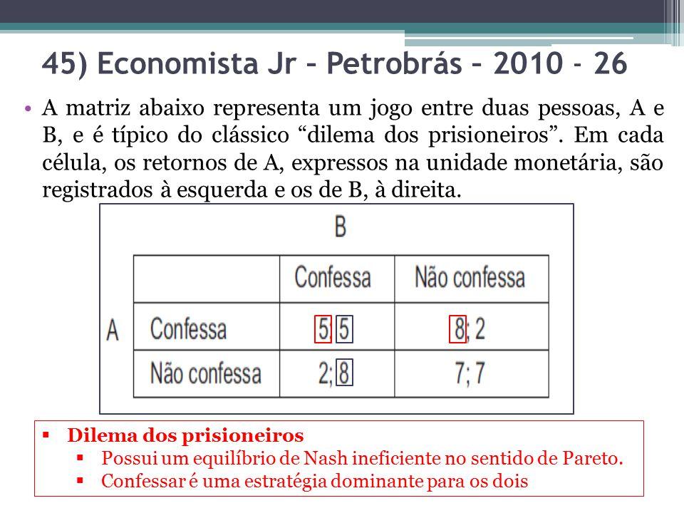 45) Economista Jr – Petrobrás – 2010 - 26