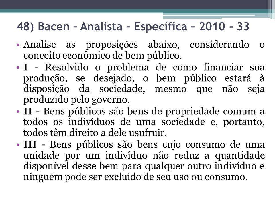 48) Bacen – Analista – Específica – 2010 - 33