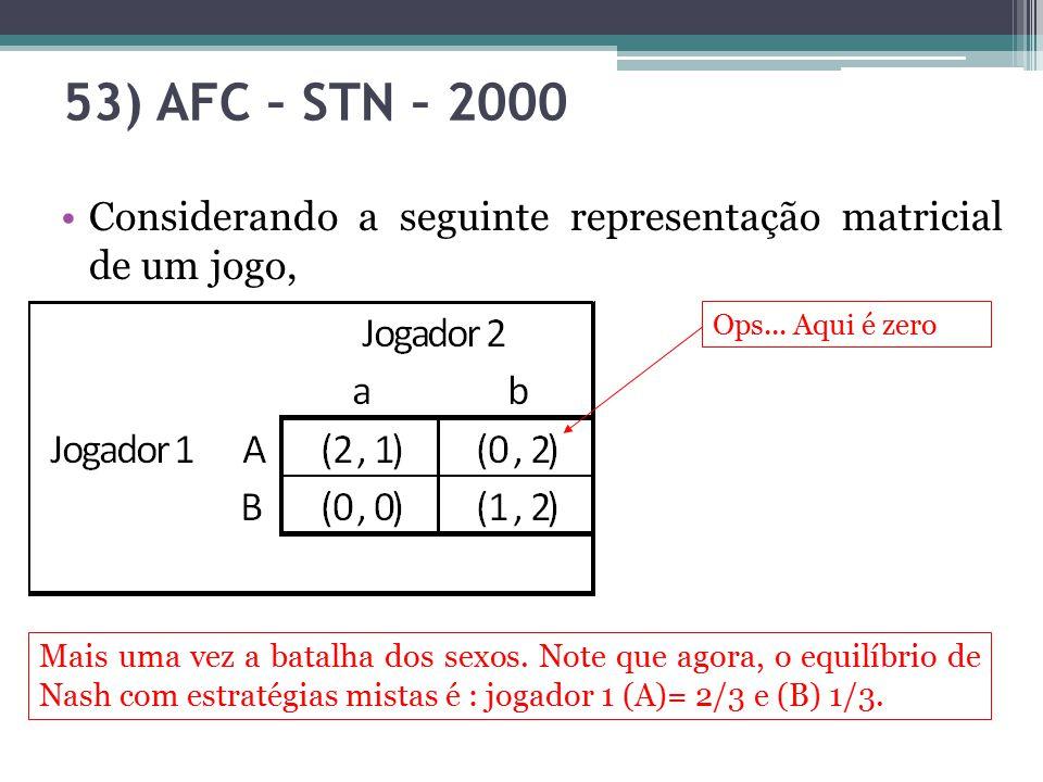53) AFC – STN – 2000 Considerando a seguinte representação matricial de um jogo, Ops... Aqui é zero.
