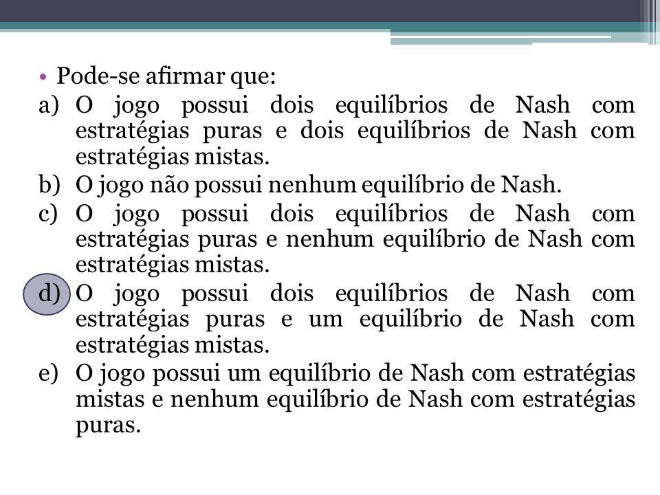 Pode-se afirmar que: O jogo possui dois equilíbrios de Nash com estratégias puras e dois equilíbrios de Nash com estratégias mistas.