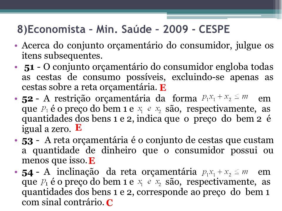 8)Economista – Min. Saúde – 2009 - CESPE