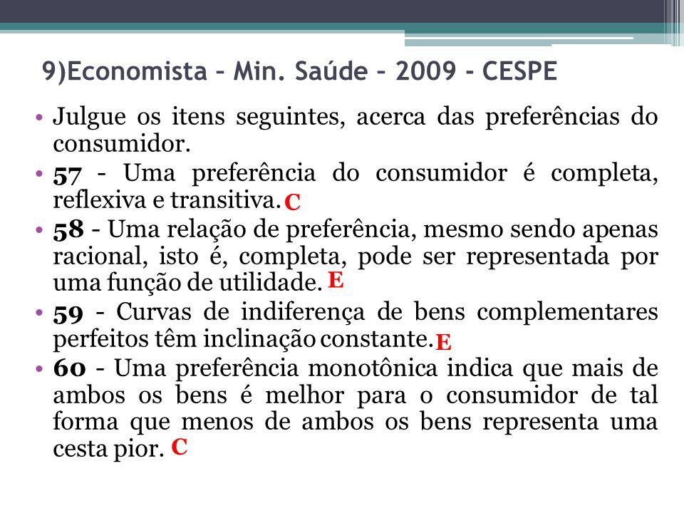 9)Economista – Min. Saúde – 2009 - CESPE