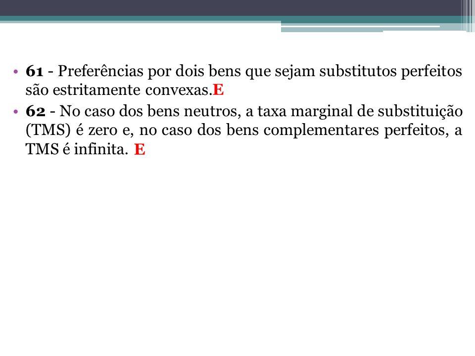 61 - Preferências por dois bens que sejam substitutos perfeitos são estritamente convexas.