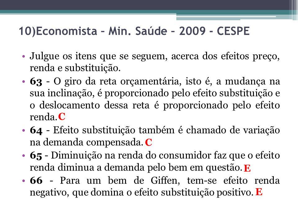 10)Economista – Min. Saúde – 2009 - CESPE