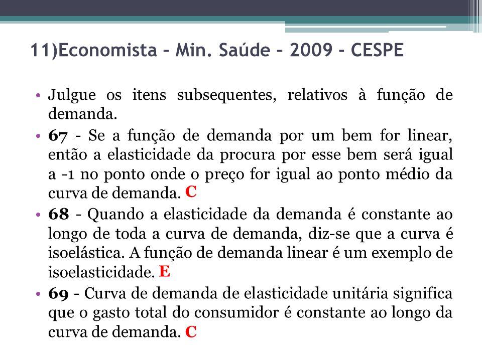 11)Economista – Min. Saúde – 2009 - CESPE