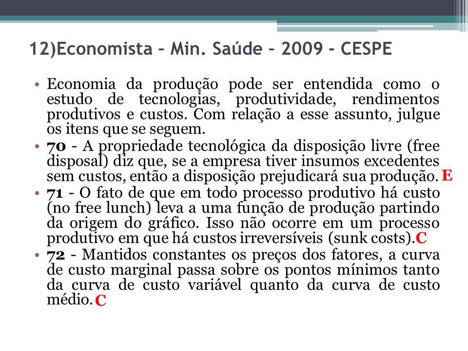 12)Economista – Min. Saúde – 2009 - CESPE