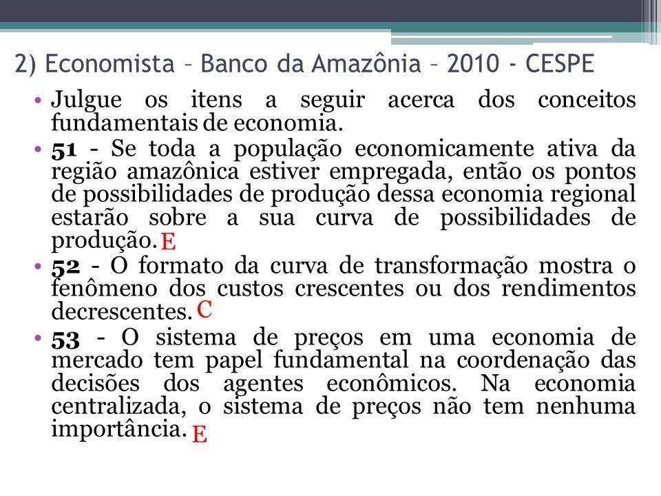 2) Economista – Banco da Amazônia – 2010 - CESPE