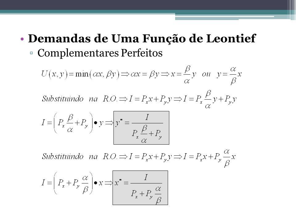 Demandas de Uma Função de Leontief