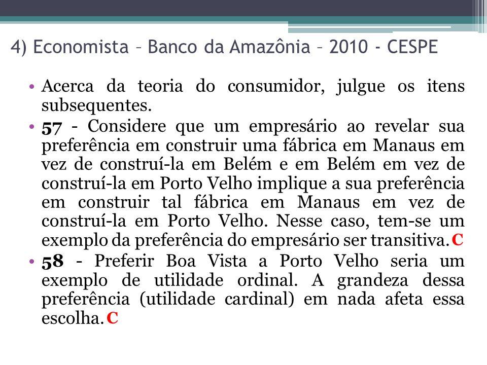 4) Economista – Banco da Amazônia – 2010 - CESPE