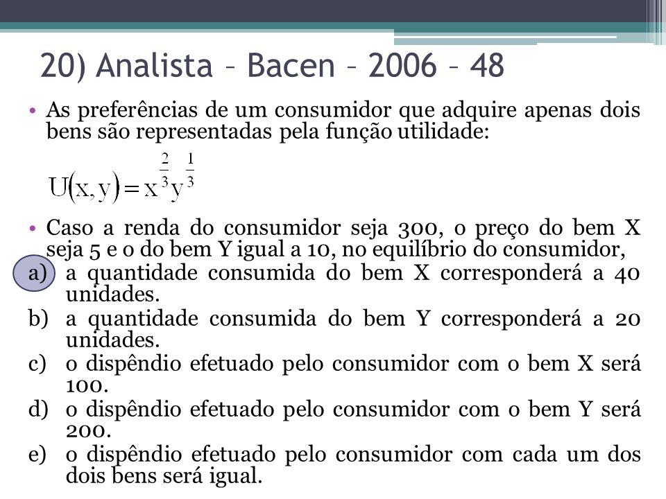 20) Analista – Bacen – 2006 – 48 As preferências de um consumidor que adquire apenas dois bens são representadas pela função utilidade: