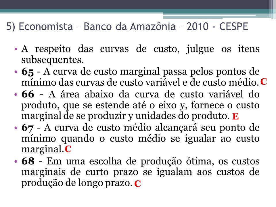 5) Economista – Banco da Amazônia – 2010 - CESPE