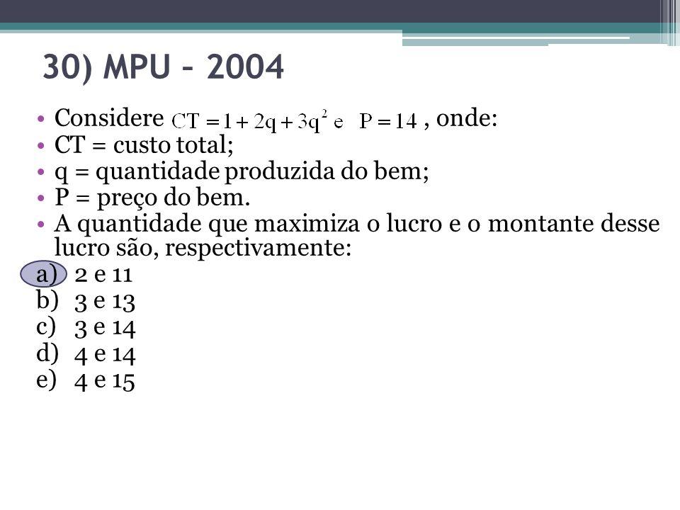 30) MPU – 2004 Considere , onde: CT = custo total;