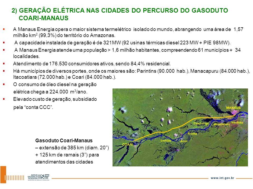 2) GERAÇÃO ELÉTRICA NAS CIDADES DO PERCURSO DO GASODUTO COARI-MANAUS