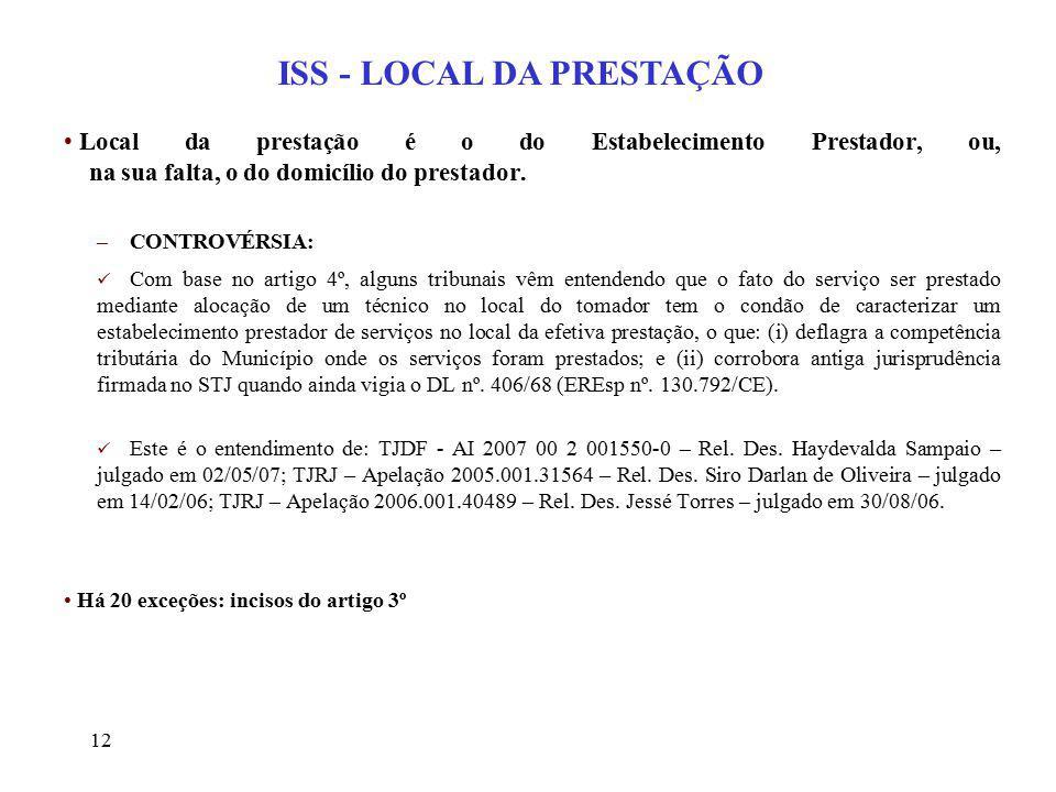 ISS - LOCAL DA PRESTAÇÃO