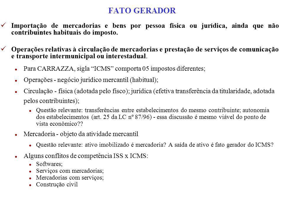 FATO GERADOR Importação de mercadorias e bens por pessoa física ou jurídica, ainda que não contribuintes habituais do imposto.