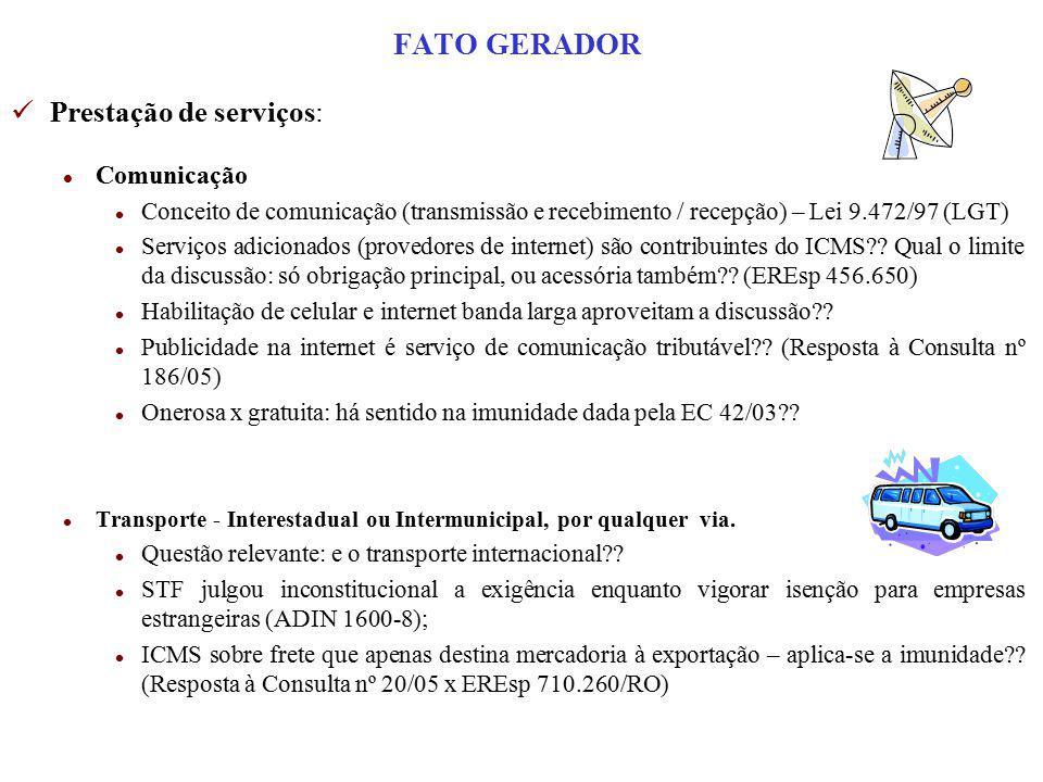 FATO GERADOR Prestação de serviços: Comunicação
