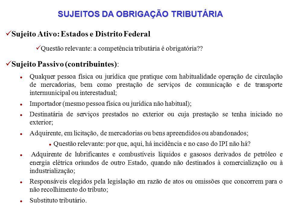 SUJEITOS DA OBRIGAÇÃO TRIBUTÁRIA