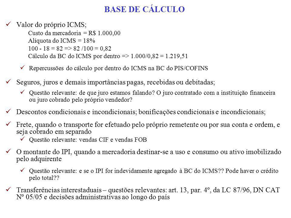 BASE DE CÁLCULO Valor do próprio ICMS;