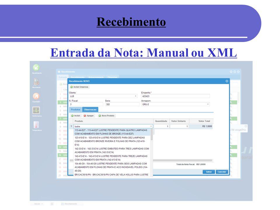 Recebimento Entrada da Nota: Manual ou XML