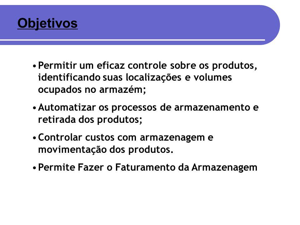 Objetivos Permitir um eficaz controle sobre os produtos, identificando suas localizações e volumes ocupados no armazém;