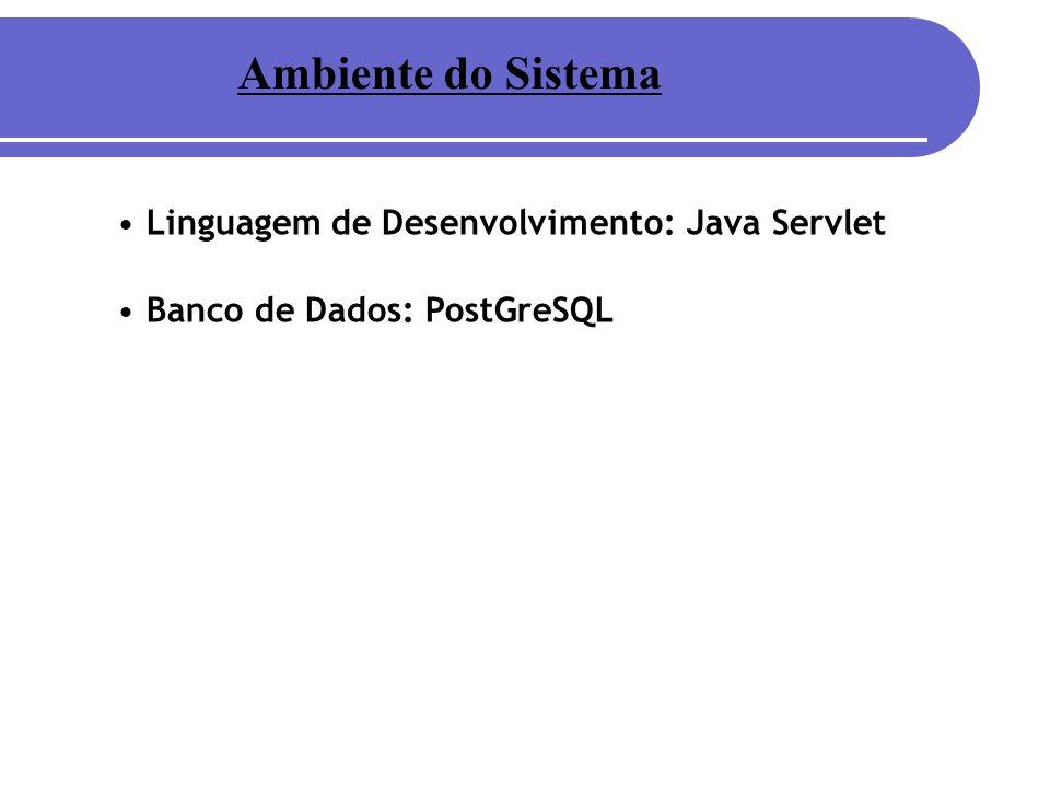 Ambiente do Sistema Linguagem de Desenvolvimento: Java Servlet