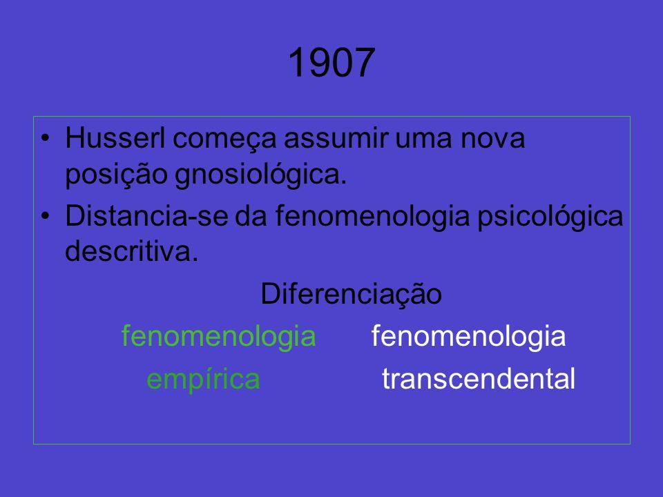 1907 Husserl começa assumir uma nova posição gnosiológica.