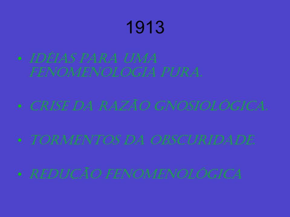 1913 Idéias para uma fenomenologia pura. Crise da razão gnosiológica.