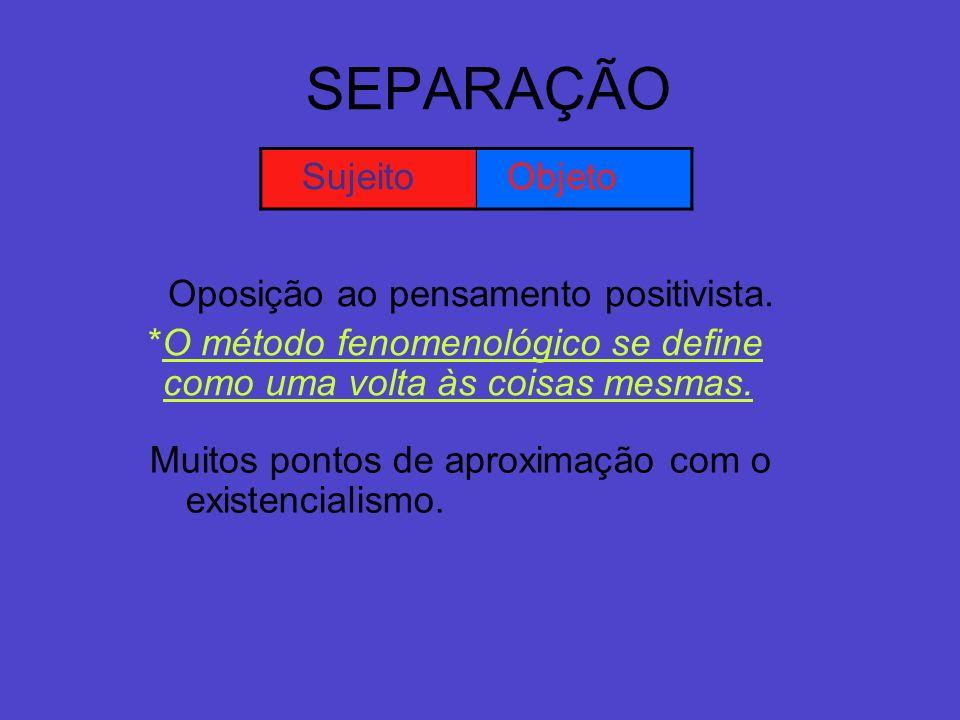 SEPARAÇÃO Sujeito Objeto Oposição ao pensamento positivista.
