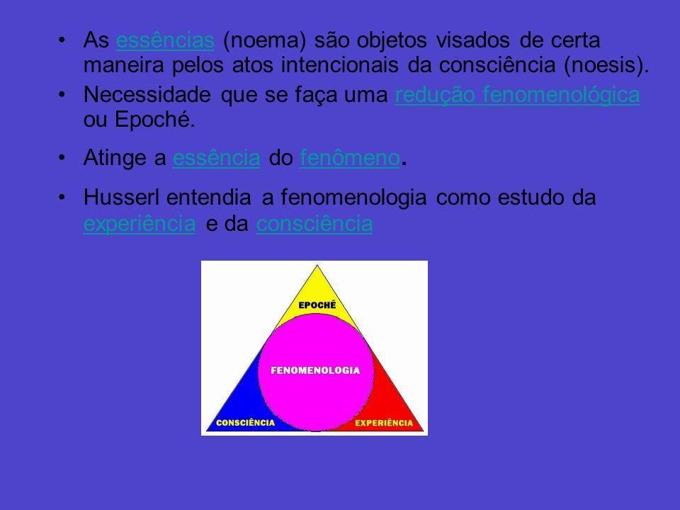 As essências (noema) são objetos visados de certa maneira pelos atos intencionais da consciência (noesis).