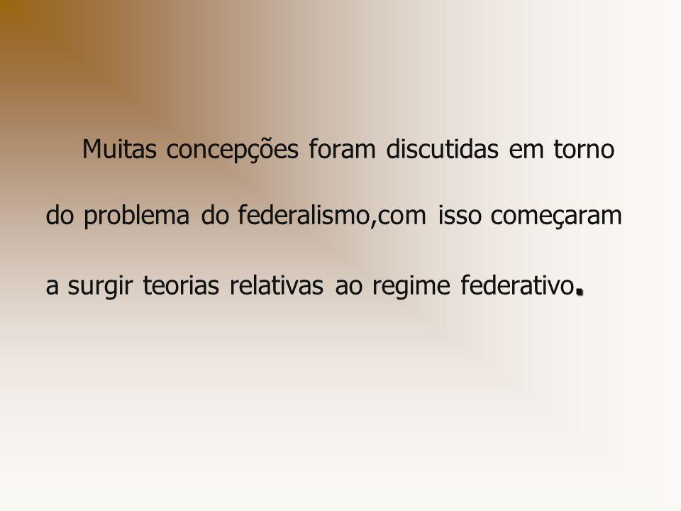 Muitas concepções foram discutidas em torno do problema do federalismo,com isso começaram a surgir teorias relativas ao regime federativo.