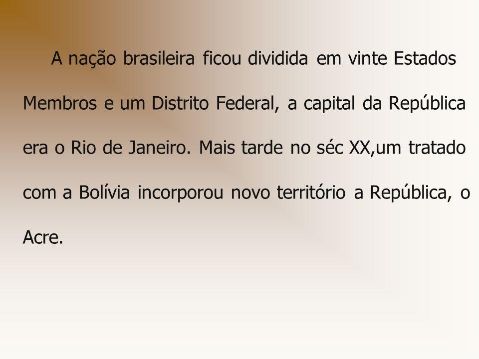 A nação brasileira ficou dividida em vinte Estados Membros e um Distrito Federal, a capital da República era o Rio de Janeiro.