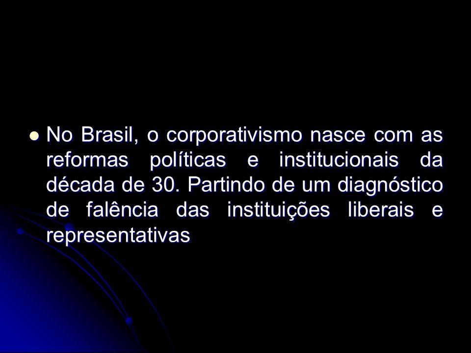 No Brasil, o corporativismo nasce com as reformas políticas e institucionais da década de 30.