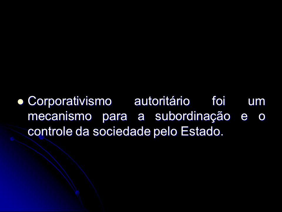 Corporativismo autoritário foi um mecanismo para a subordinação e o controle da sociedade pelo Estado.
