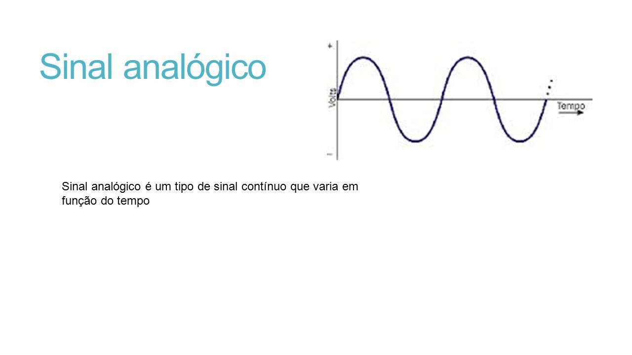 Sinal analógico Sinal analógico é um tipo de sinal contínuo que varia em função do tempo