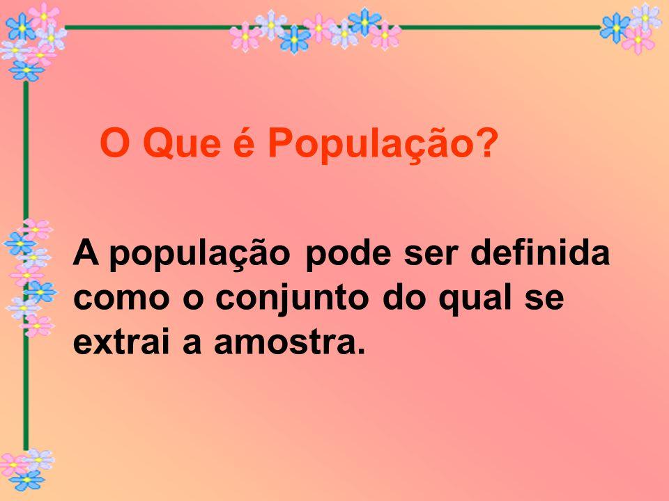 O Que é População A população pode ser definida como o conjunto do qual se extrai a amostra.