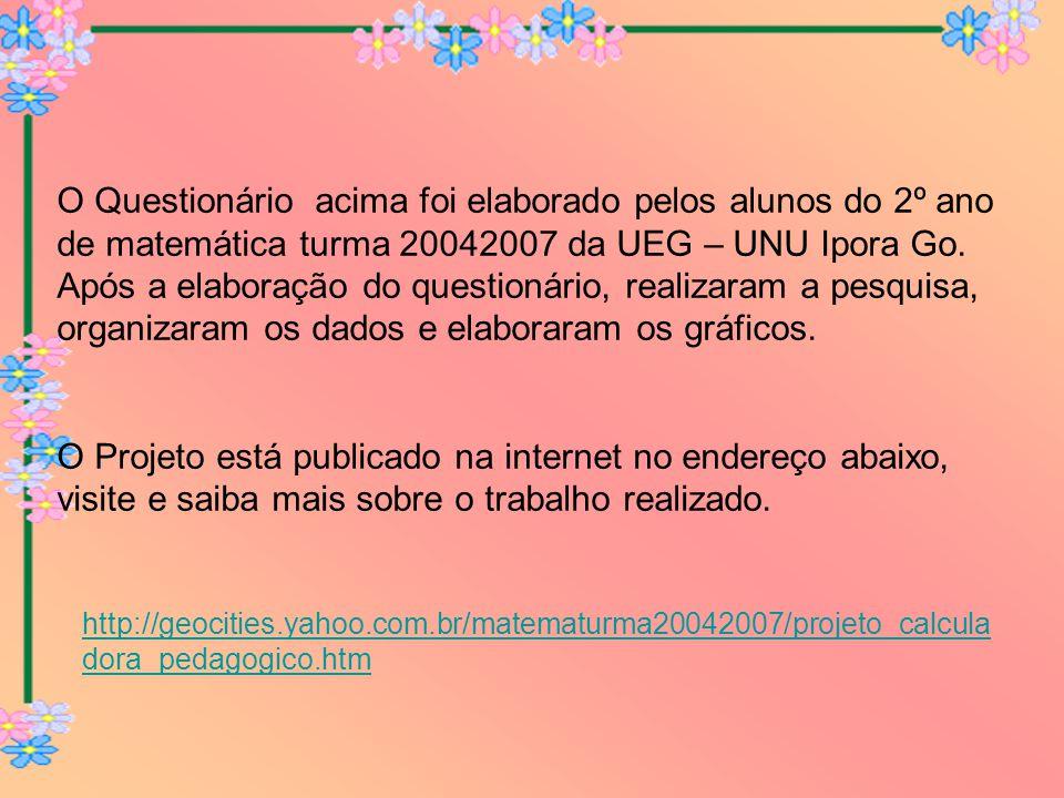 O Questionário acima foi elaborado pelos alunos do 2º ano de matemática turma 20042007 da UEG – UNU Ipora Go.