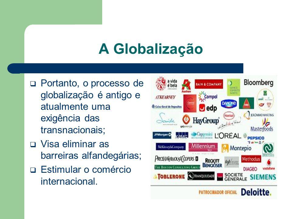 A Globalização Portanto, o processo de globalização é antigo e atualmente uma exigência das transnacionais;