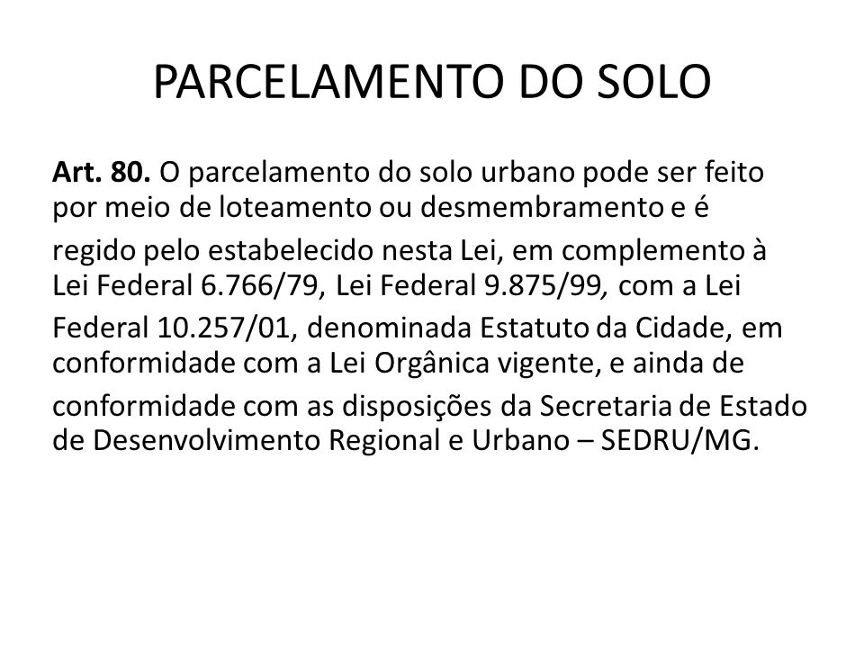 PARCELAMENTO DO SOLO