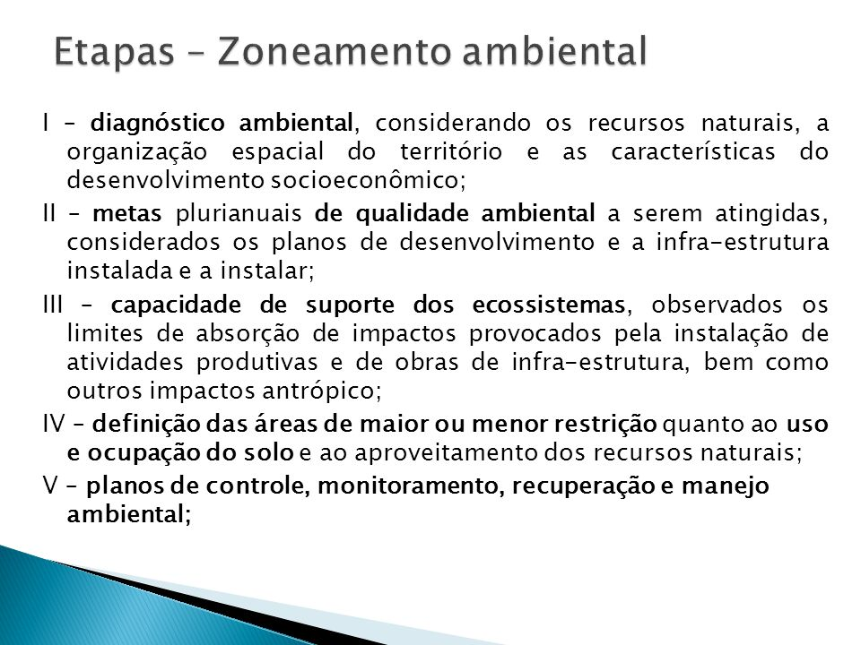 Etapas – Zoneamento ambiental