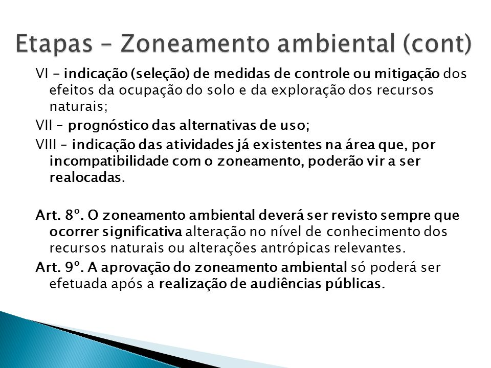 Etapas – Zoneamento ambiental (cont)
