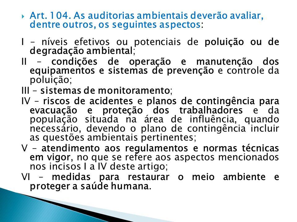 Art. 104. As auditorias ambientais deverão avaliar, dentre outros, os seguintes aspectos: