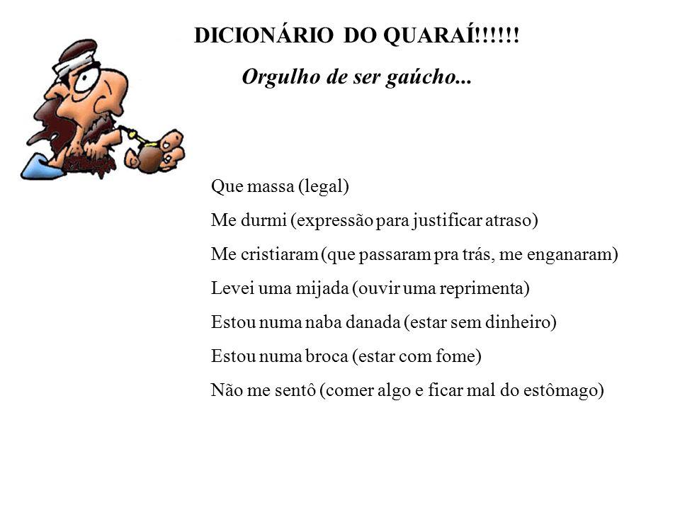 DICIONÁRIO DO QUARAÍ!!!!!! Orgulho de ser gaúcho...