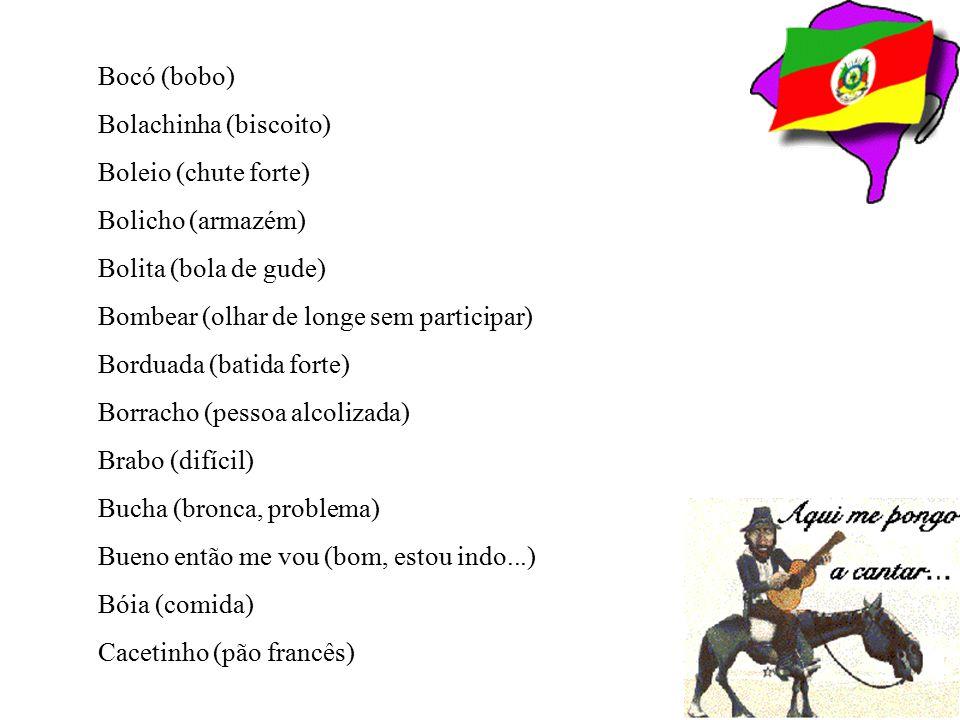 Bocó (bobo) Bolachinha (biscoito) Boleio (chute forte) Bolicho (armazém) Bolita (bola de gude) Bombear (olhar de longe sem participar)